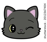 isolated cute cat emoji winking ...   Shutterstock .eps vector #2012367404