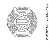 single one line drawing dna... | Shutterstock .eps vector #2012387477