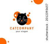 sign cute black round cat with...   Shutterstock .eps vector #2012393657