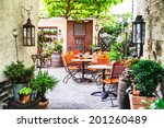 cafe terrace in small european... | Shutterstock . vector #201260489