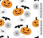 seamless pattern halloween... | Shutterstock .eps vector #2012623124