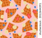 belgian waffle seamless pattern.... | Shutterstock .eps vector #2012644391
