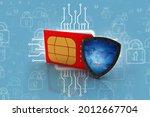3d render sim card with... | Shutterstock . vector #2012667704