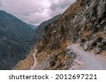 Winding Mountain Trail On Steep ...