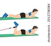 woman doing prone leg curl... | Shutterstock .eps vector #2012738384