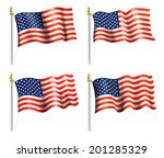 american flag on flag pole  ... | Shutterstock . vector #201285329