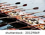Racing boat with eight seats for sport - stock photo