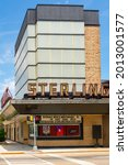 Small photo of Sterling, Illinois - United States - June 22nd, 2021: The Sterling Theater, originally opened in 1924, in the morning light.
