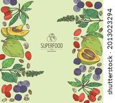 background with superfood  goji ... | Shutterstock .eps vector #2013023294