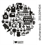 bakery icons set. vector... | Shutterstock .eps vector #201309404