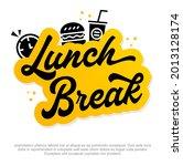 modern lunch break vector logo... | Shutterstock .eps vector #2013128174