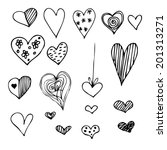 Set Of Different Graphic Heart...
