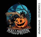halloween with pumpkin giving...   Shutterstock .eps vector #2013165011