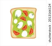 avocado toast with mozzarella... | Shutterstock .eps vector #2013166124