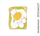 avocado toast with egg. cute... | Shutterstock .eps vector #2013166127