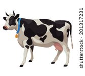 black and white cow with bell ...   Shutterstock .eps vector #201317231