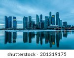 The Singapore Skyline At Dawn.
