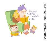 grandmother reading books to... | Shutterstock .eps vector #2013268541