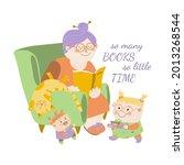 grandmother reading books to... | Shutterstock .eps vector #2013268544