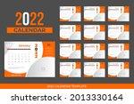 2022 desk calendar template... | Shutterstock .eps vector #2013330164