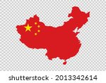 china flag on map isolated  on...   Shutterstock .eps vector #2013342614