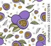 seamless pattern passion fruit... | Shutterstock .eps vector #2013370784