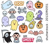 cute ghost  colorful graphics... | Shutterstock .eps vector #2013390551