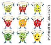cute fruits with banners vector ... | Shutterstock .eps vector #201346775