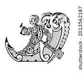 redrawn from the maori tattoo...   Shutterstock .eps vector #2013562187