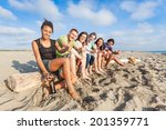 multiracial group of friends at ... | Shutterstock . vector #201359771