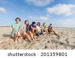 multiracial group of friends at ... | Shutterstock . vector #201359801