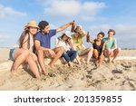 multiracial group of friends at ... | Shutterstock . vector #201359855