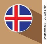 vector   iceland flag button...