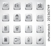 Camera Icons and Camera Accessories Icons and Photography Icons set on button - stock vector