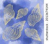 Hand Drawn Vector Of Seashells...