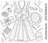 dress  jewelry and cosmetics....   Shutterstock .eps vector #2013696614