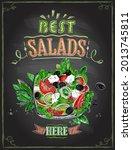 best salads here  chalkboard... | Shutterstock . vector #2013745811