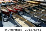 array of canoes and kayaks | Shutterstock . vector #201376961
