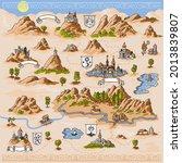medieval european map engraving ... | Shutterstock .eps vector #2013839807