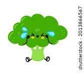 cute sad and crying broccoli ...   Shutterstock .eps vector #2013866567