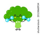 cute funny broccoli character...   Shutterstock .eps vector #2013868934