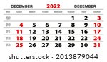 wall calendar 2022 for december ...   Shutterstock .eps vector #2013879044