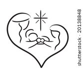 Vector line art image of Holy Family / Nativity