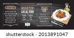 fish menu chalkboard mockup... | Shutterstock . vector #2013891047