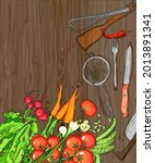 healthy organic vegetables and... | Shutterstock . vector #2013891341