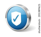 blue round shield button with... | Shutterstock .eps vector #201389621