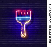 building paintbrush neon icon....   Shutterstock .eps vector #2013906791