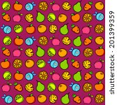 seamless pattern of fruit and... | Shutterstock .eps vector #201399359