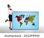 stewardess holding plasma panel ... | Shutterstock . vector #201399944