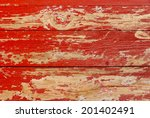 Painted Red Old Wooden Wall...